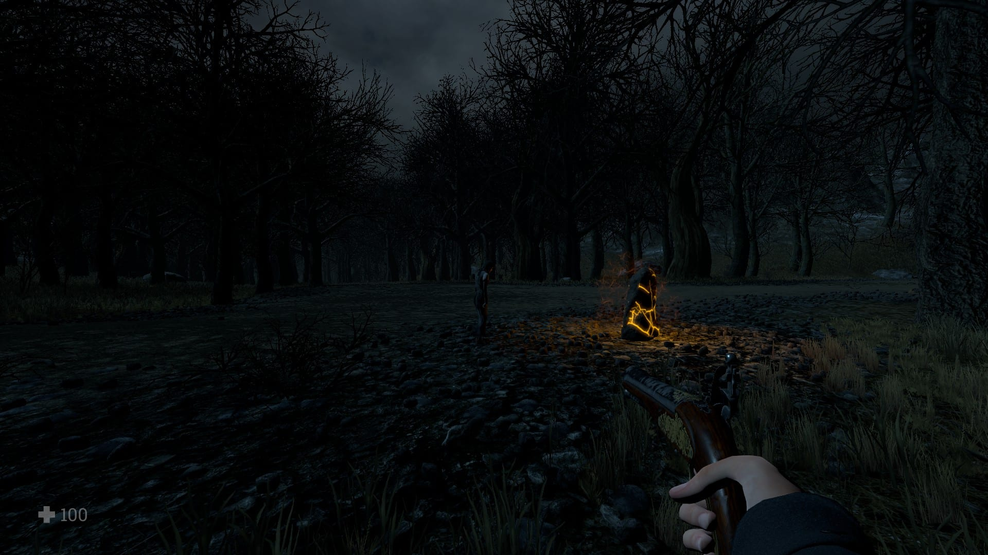 The player approaching a save stone, in Witch Hunt.