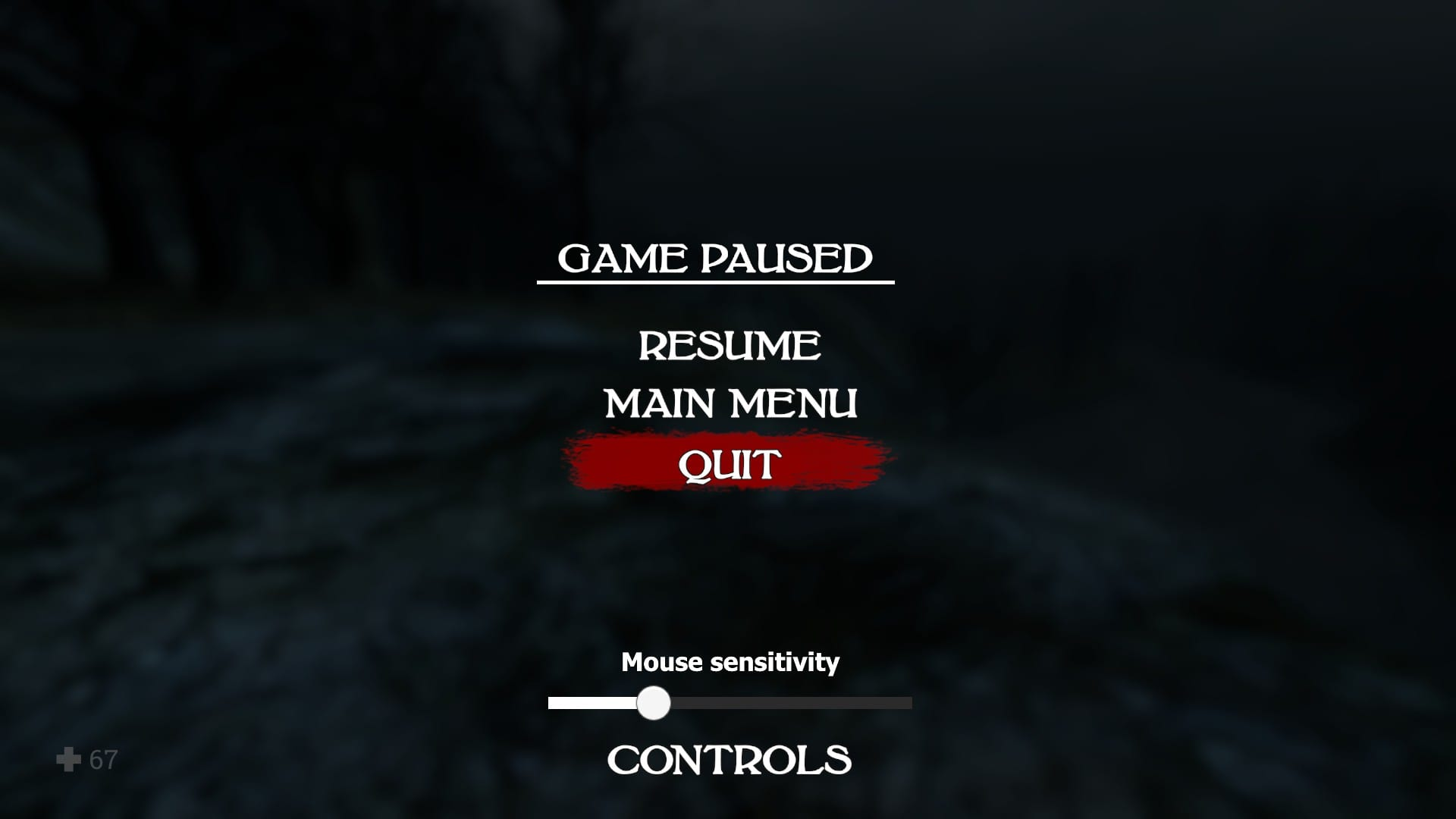 The pause menu, with an easily accessible mouse sensitivity slider, in Witch Hunt.