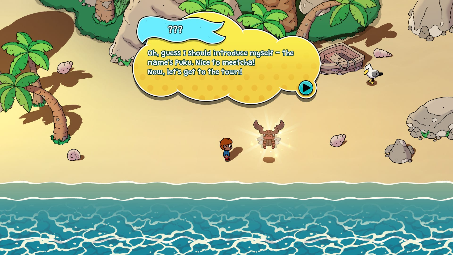 The Swords of Ditto, screenshot 1: awaking on the beach