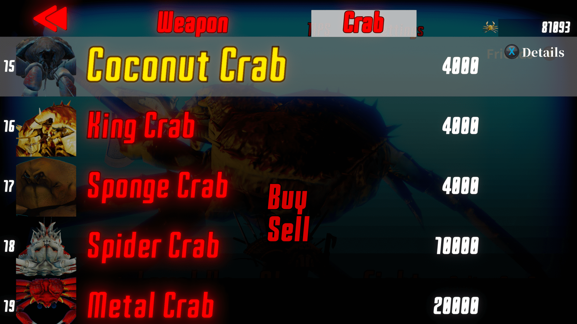 Coconut Crab saw me through most of the game