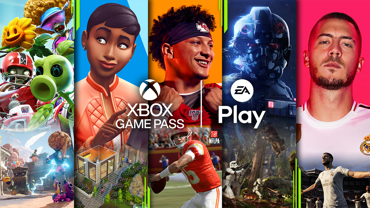 Still Image Xbox Game Pass 1 EA Play Title Cards Logos