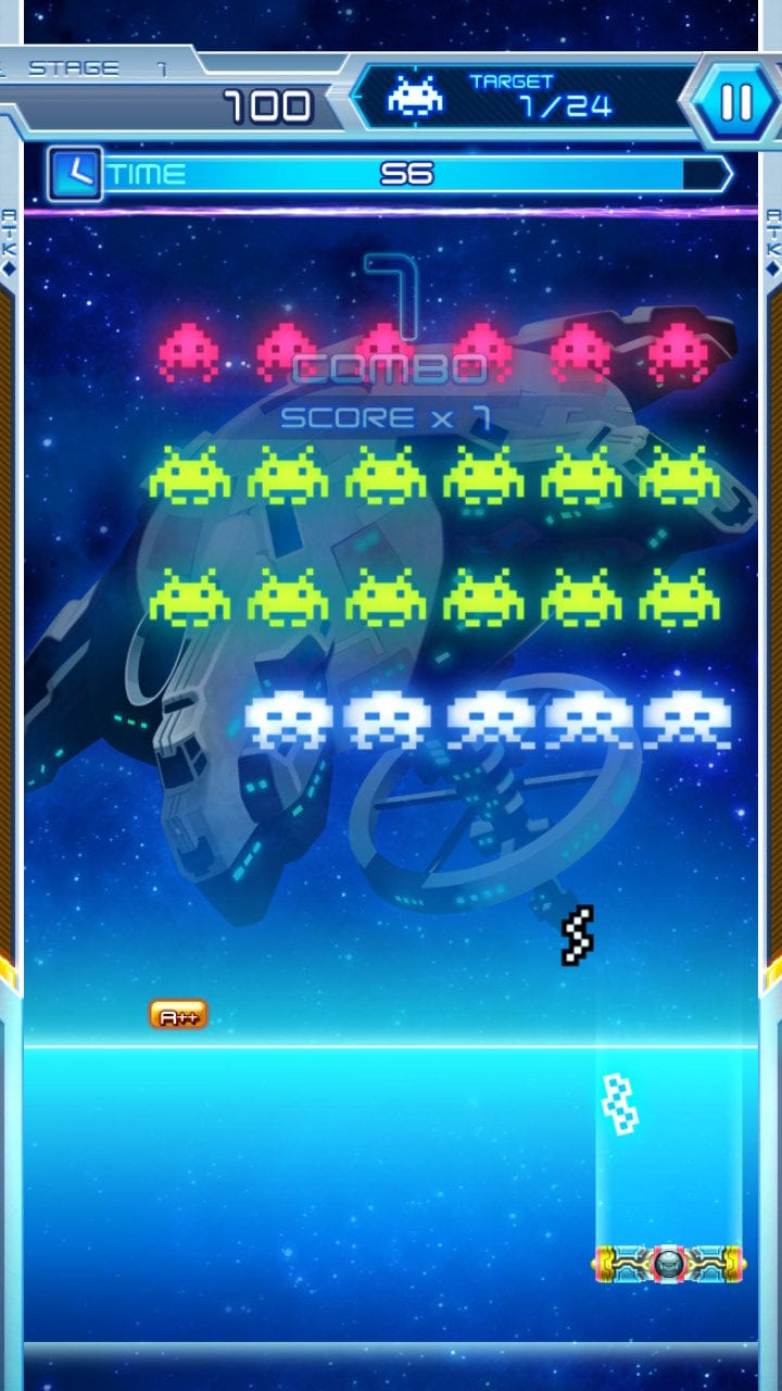 Since the Arkanoid doesn't have weapons, reflecting Invader attacks is the name of the game
