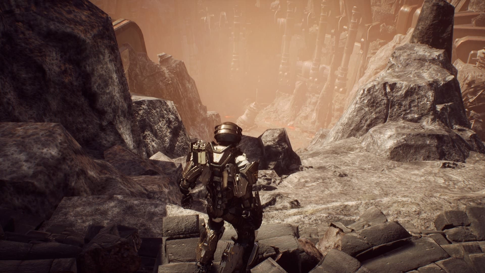 A screenshot of the open world in Anthem