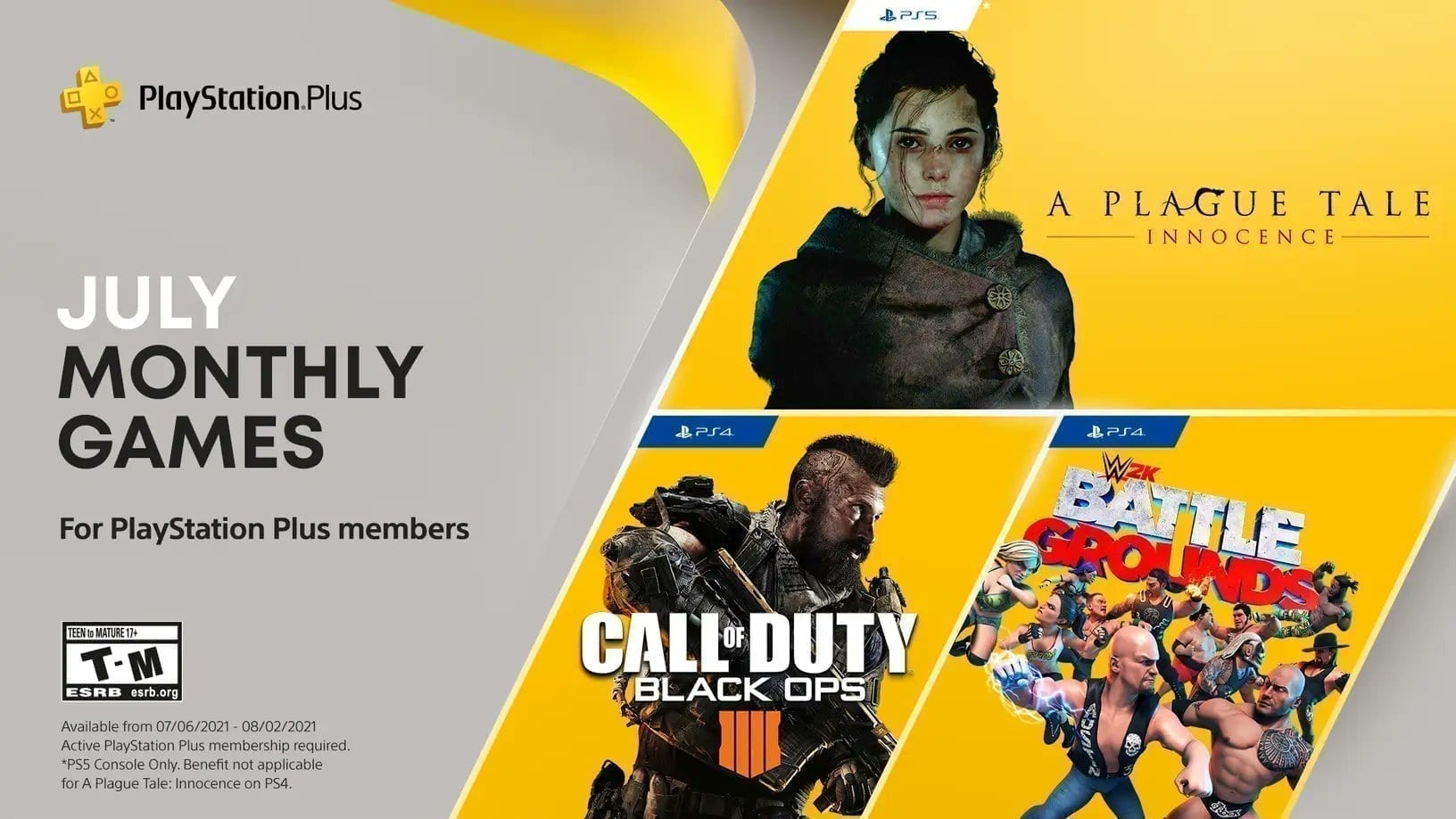 PS Plus games available July 2021, including A Plague Tale: Innocence, Call of Duty Black Ops 4 and WWE 2K Battlegrounds.