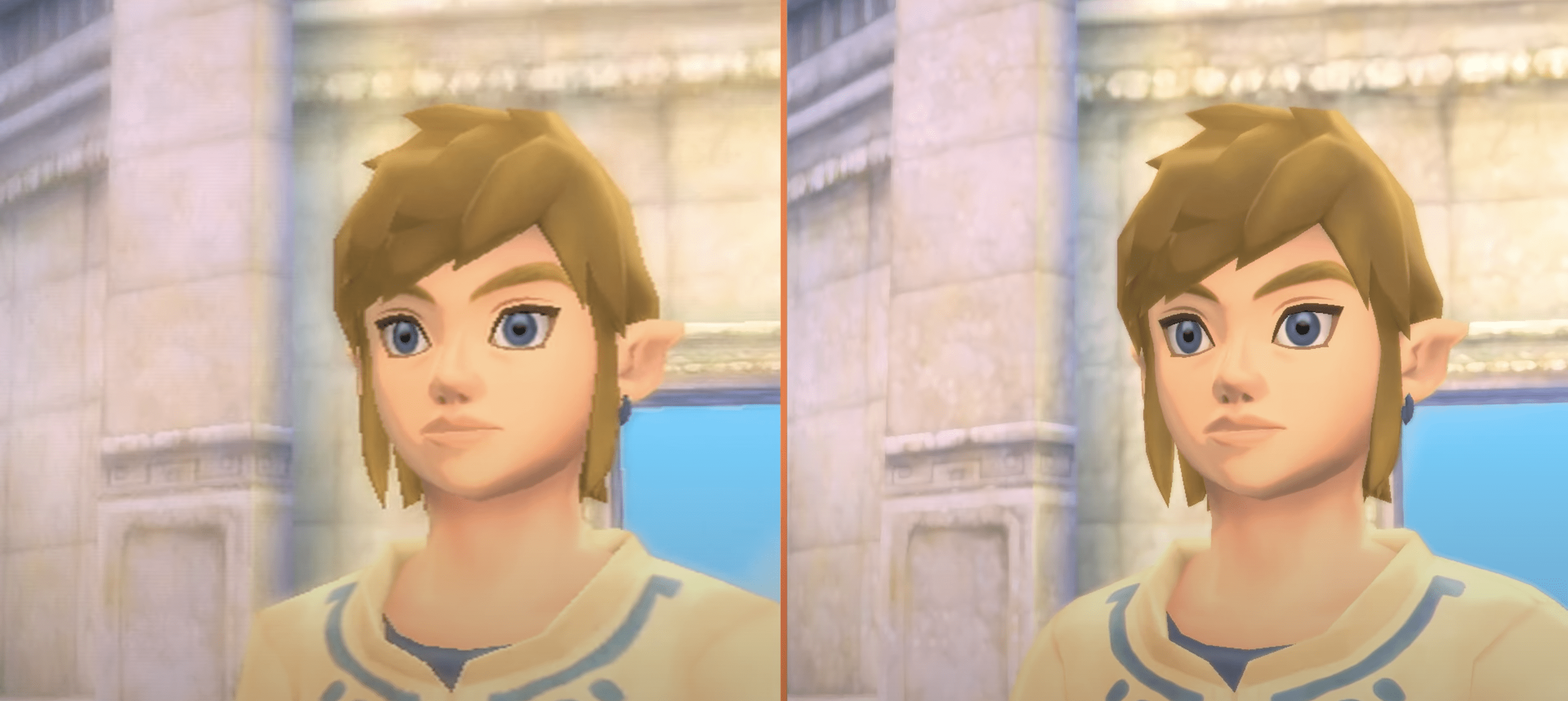 A comparison image of Link in Skyward Sword on Wii and Link in Skyward Sword HD on Switch