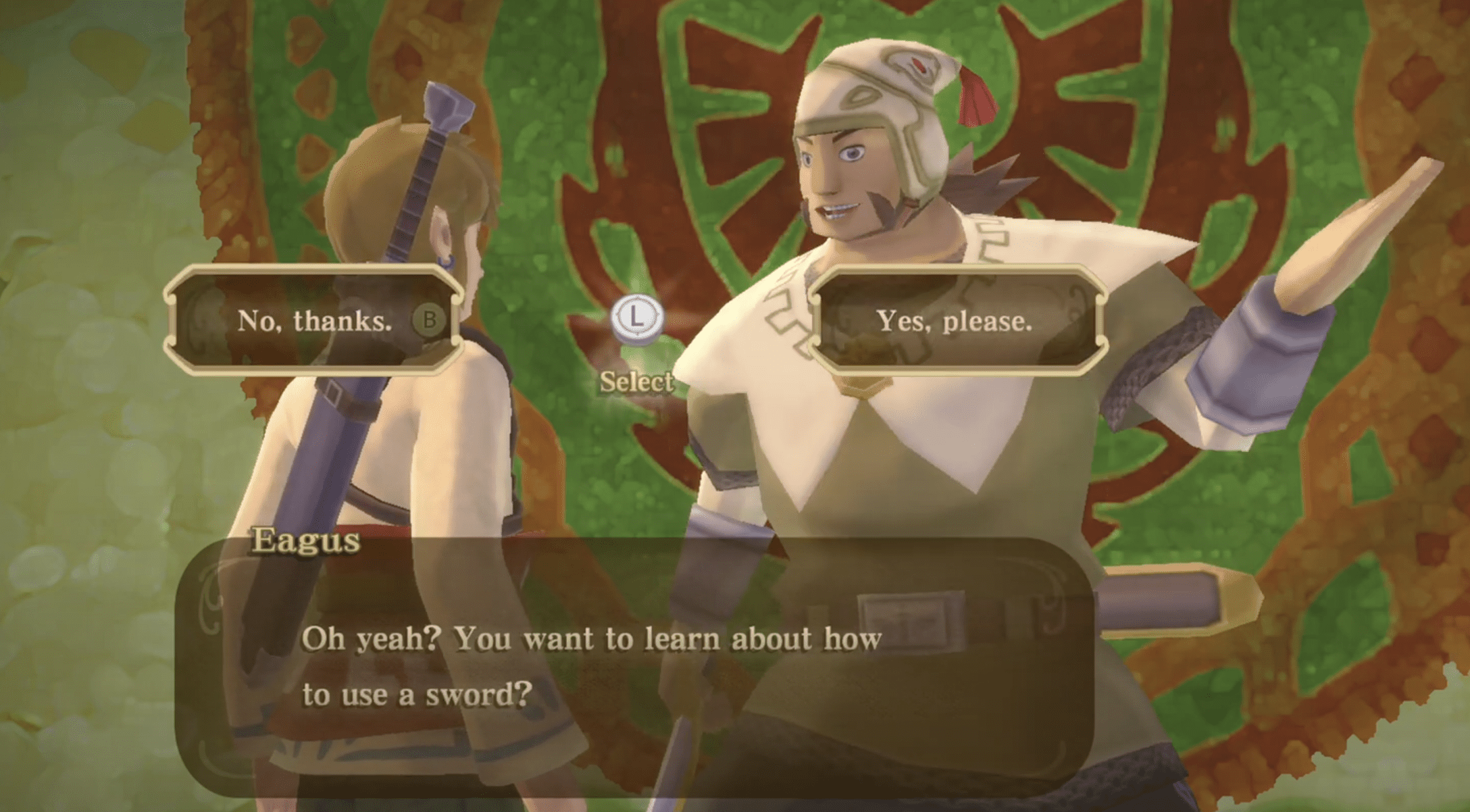 Sword tutorials are optional in Skyward Sword HD, with the option to say no to training
