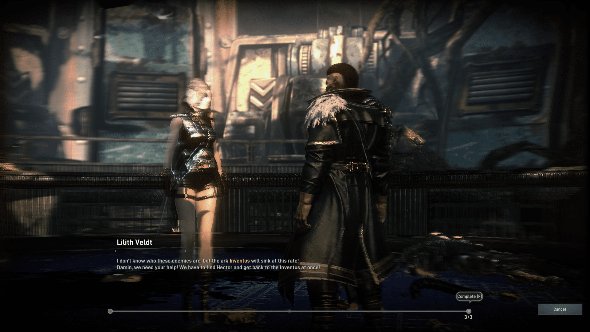 Elyon Screenshot from the dialogue cutscene when a character called Lilith Veldt is explaining the situation.