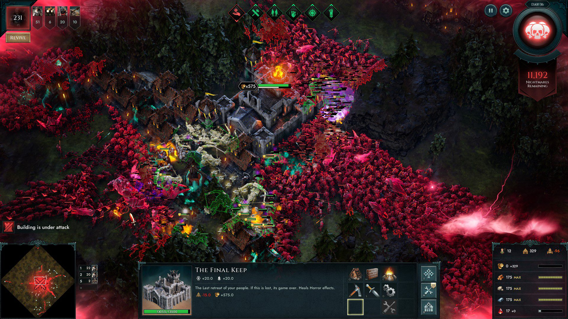Age of Darkness screenshot of the last wave of undead destroying the base
