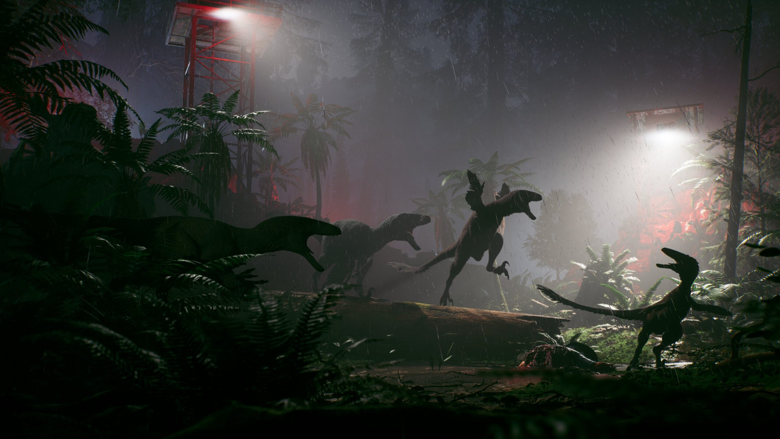 The Lost Wild screenshot, showing multiple dinasours attacking during a rainy night